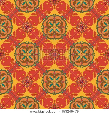 Vector seamless texture. Beautiful orange colored pattern for design and fashion with decorative elements. Portuguese tiles Spanish Moroccan ornaments