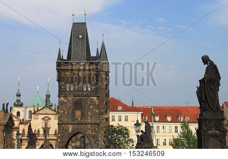Tower on Charles Bridge in Prague, Czech Republic