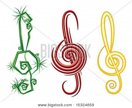 Various Music Styles Reggae, Pop, Jazz. Vector design violin clef