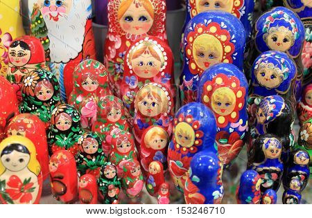 Colorful set of matrioskas the typical doll of Russia
