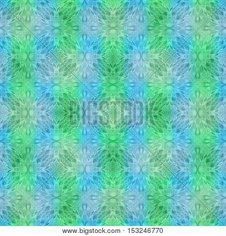 Bright seamless blur soft colorful ethnic pattern. Collage with hand made watercolor blots hearts and petals leaves and flowers. Batik background backdrop. Boho style watercolor stylization