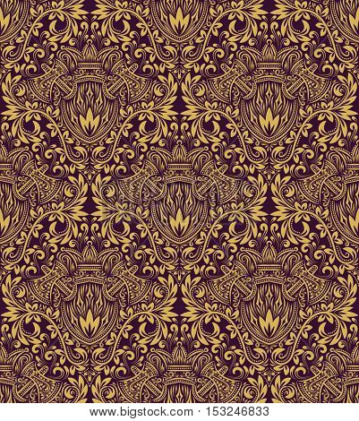 Damask seamless pattern repeating background. Golden purple floral ornament in baroque style.