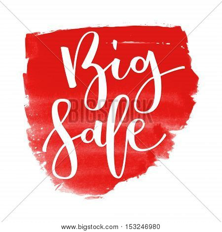 Big sale hand written inscription on red watercolor banner background