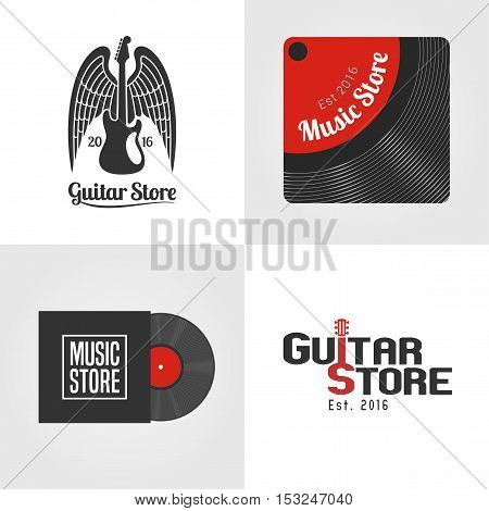 Guitar shop music store set of vector icon symbol emblem logo. Template graphic design elements for decoration advertising of guitar and music related business