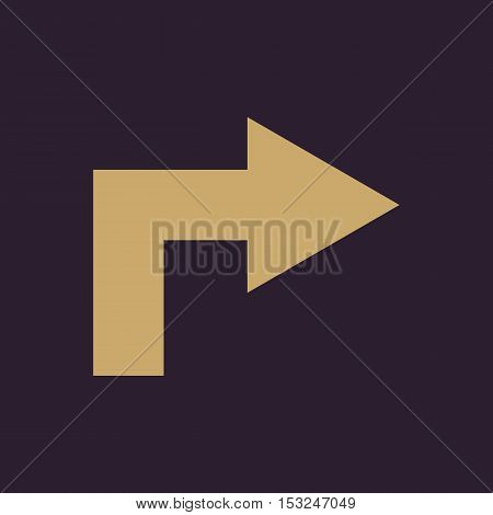 The right icon. Direction and arrow, navigation symbol. Flat Vector illustration