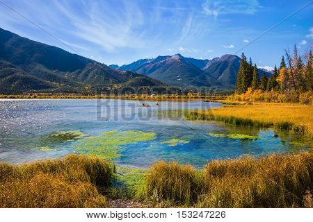 Beautiful Lake Vermilion in Banff National Park. The Canadian province of Alberta, the Rocky Mountains. Perfect sunny day. Concept of active tourism and ecotourism