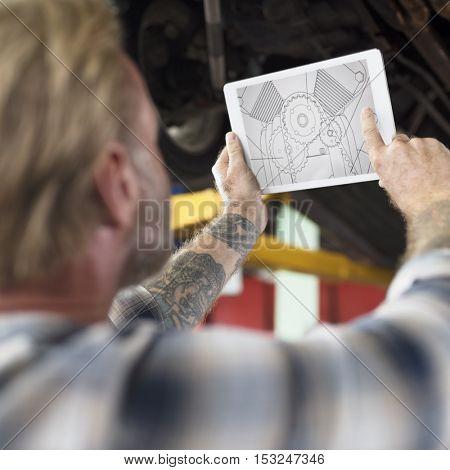 Construction Master Plan Draft Blueprint Male Tablet Concept