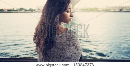River African American Model Portrait Casual Concept