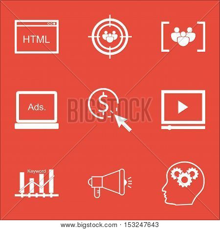 Set Of Advertising Icons On Keyword Optimisation, Brain Process And Coding Topics. Editable Vector I