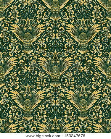 Damask seamless pattern with owl silhouette. Vintage repeating background. Gold green floral ornament in baroque style. Antique golden repeatable wallpaper.