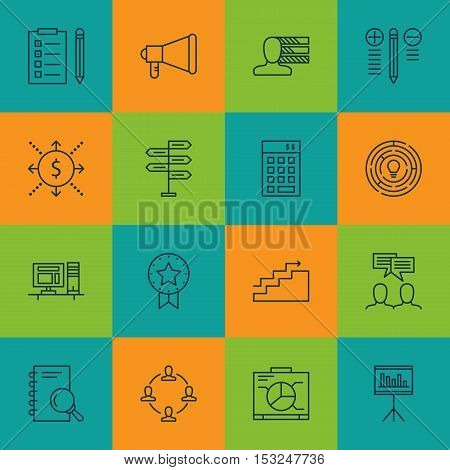 Set Of Project Management Icons On Money, Board And Innovation Topics. Editable Vector Illustration.