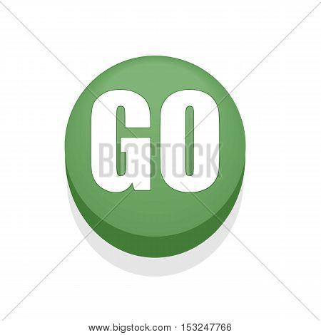 Green Round Shiny Go Button. Isolated. Simple.