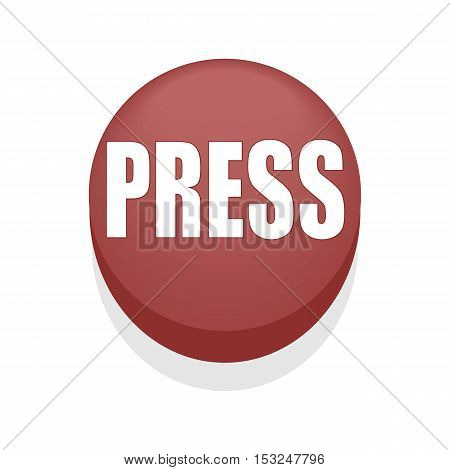 Red Round Shiny Press Button. Isolated. Simple.