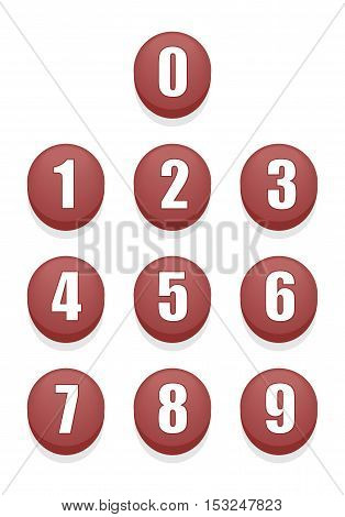 Set of Red Round Shiny Numbers Buttons.