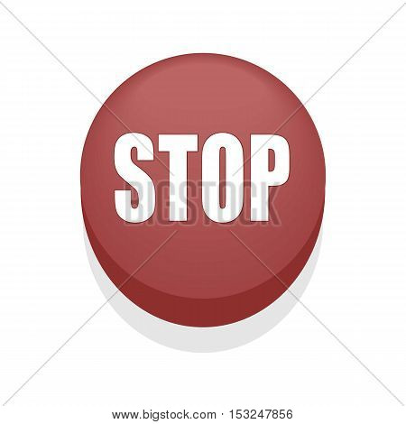Red Round Shiny Stop Button. Isolated. Simple.