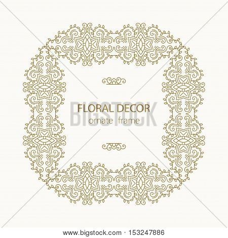 vector design element templates in trendy linear style.Vector vintage frame with place for text.
