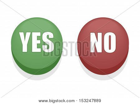 Round Yes or No Shiny Buttons. Isolated.