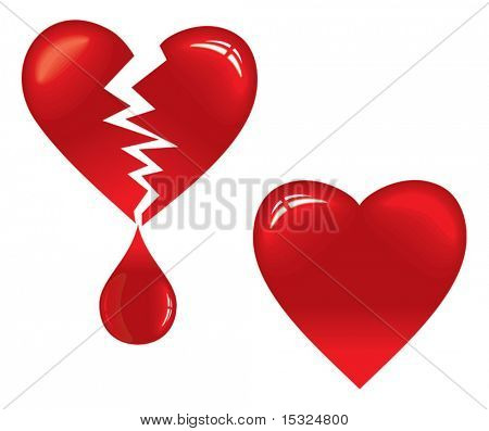 Vector Heart and Broken Heart