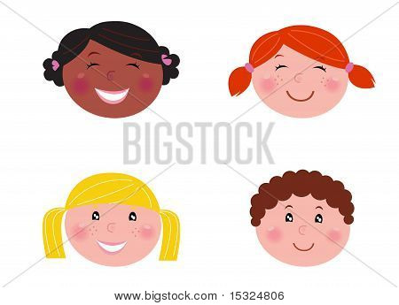 Multicultural Children Heads - Isolated On White.