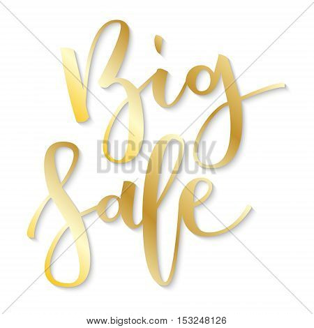 Big sale gold hand written inscription on white background