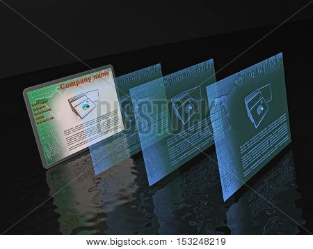Web pages with pictures (business) on black background 3D illustration.
