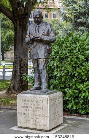 Pamplona Spain - August 21 2016: Statue tribute to Jose Joaquin Arazuri physician and historian of his hometown. In July 2003 a monument was inaugurated in his honor on the promenade named after the sculptor Rafael Huerta.