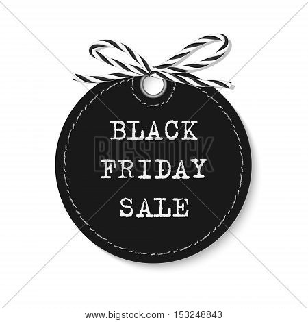 Black friday sale label with bakers twine rope bow on white background