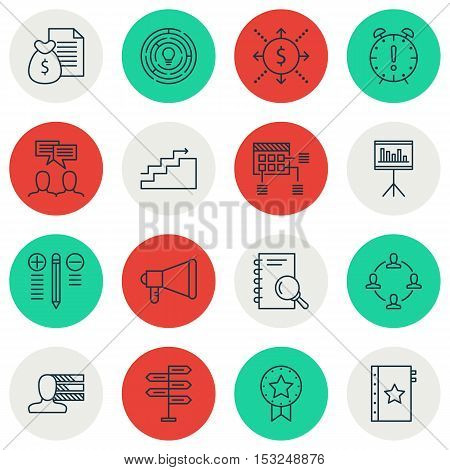 Set Of Project Management Icons On Time Management, Growth And Analysis Topics. Editable Vector Illu