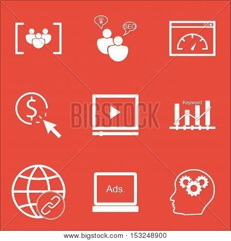 Set Of Marketing Icons On Digital Media, Ppc And Connectivity Topics. Editable Vector Illustration.