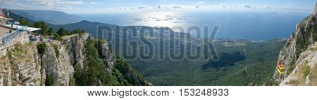Panoramic View From Ai-petri Mountain Towards Coastline Of Crimea, Russia.