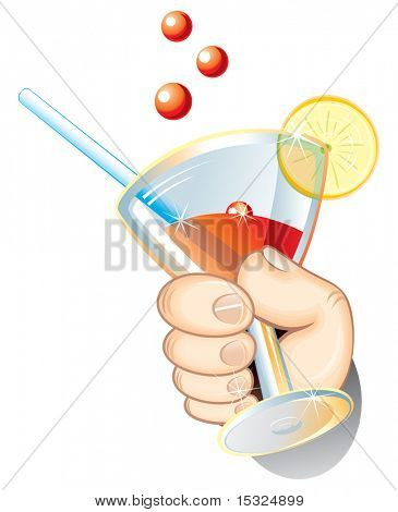 Isolierte Vektor Hand mit Cocktail