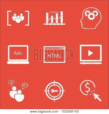 Set Of Marketing Icons On Digital Media, Keyword Optimisation And Brain Process Topics. Editable Vec