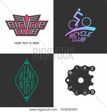 Bicycle shop rent a bike bicycle repair set of vector logo icon symbol emblem sign. Design element with bike parts