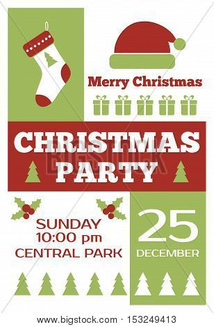 Christmas party invitation poster. Christmas holidays vector flyer design
