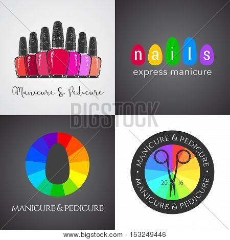 Set collection of nails salon nails art vector logo icon symbol emblem sign. Graphic design element for business related to nails - shop store boutique service