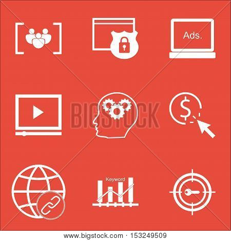 Set Of Seo Icons On Keyword Marketing, Connectivity And Brain Process Topics. Editable Vector Illust