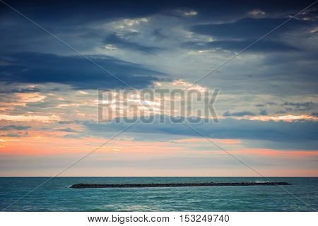 Beautiful sunset over the horizon in the sea Phetchaburi Province Thailand. Vintage effect style pictures