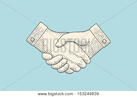 Vintage drawing of handshake or contract agreement symbol in engraving style isolated on colorful background. Handshake in old engraving vintage retro style for information sign. Vector Illustration