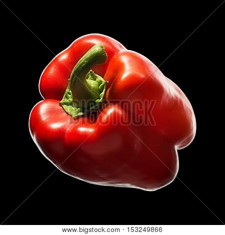 Sweet red pepper isolated on black background. With clipping path.