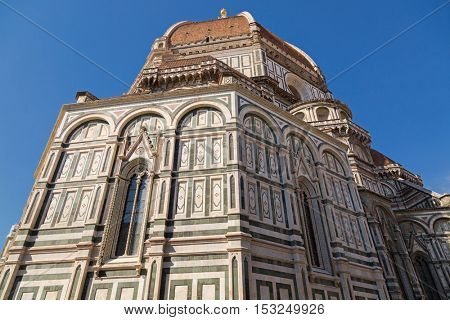 FLORENCE, ITALY - SEPTEMBER 2016 : Exterior and dome of Florence Cathedral (Santa Maria del Fiore) in Florence, Italy on September 21, 2016. Dome is known as Brunelleschiâ??s dome.
