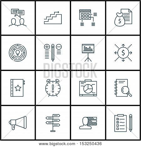 Set Of Project Management Icons On Decision Making, Schedule And Innovation Topics. Editable Vector
