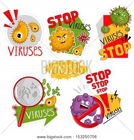 Stop viruses symbol. Cartoon viruses characters vector illustration on white background. Cute fly germ viruses infection vector. Funny micro bacteria characters. Microbe, Pathogen. Viruses icon. Funny isolated viruses characters. Different colorful virus.