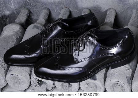 Men's Classic Shoes . Pair of stylish black leather shoes handmade, conceptual of original design quality and craftsmanship