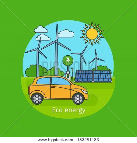 Eco energy concept illustration with sun, car and wind turbine generator. Vector icon