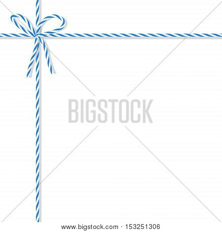 Abstract white background tied up with blue rope bakers twine bow and ribbons
