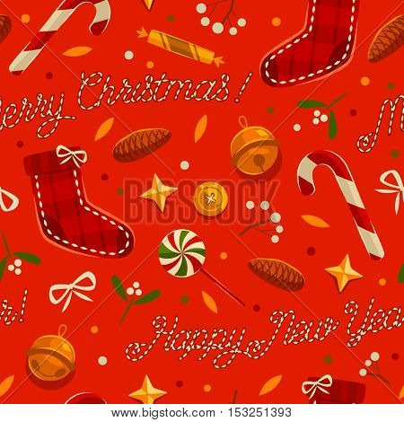 Christmas seamless pattern with candies, fir-cone, bow, stars and sleigh bells.