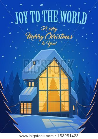 Merry Christmas greeting card with Christmas Tree in window of house covered by snow.