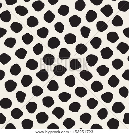 Vector Seamless Black Jumble Circles Pattern. Abstract Freehand Background Design