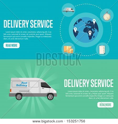 Blue globe with routes on blue background. White delivery truck on green background. Delivery service website templates, vector illustration. Global transportation. Logistic concept
