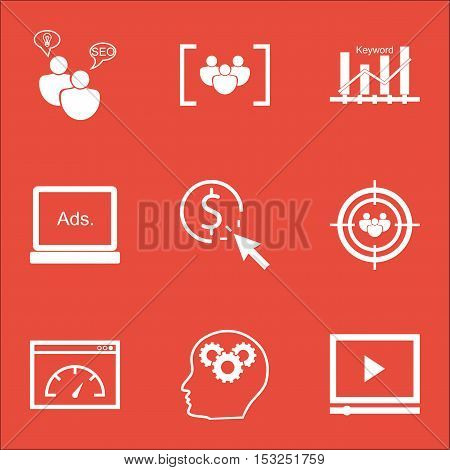 Set Of Seo Icons On Questionnaire, Ppc And Focus Group Topics. Editable Vector Illustration. Include